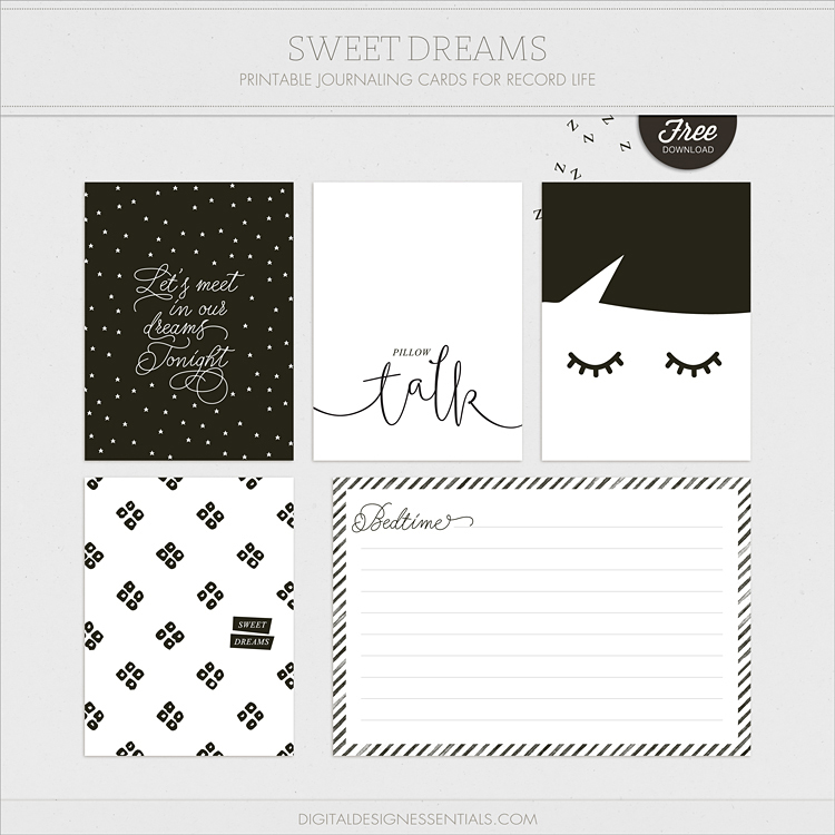 Sweet Dreams Freebie - Free journal cards by Digital Design Essentials for Turquoise Avenue