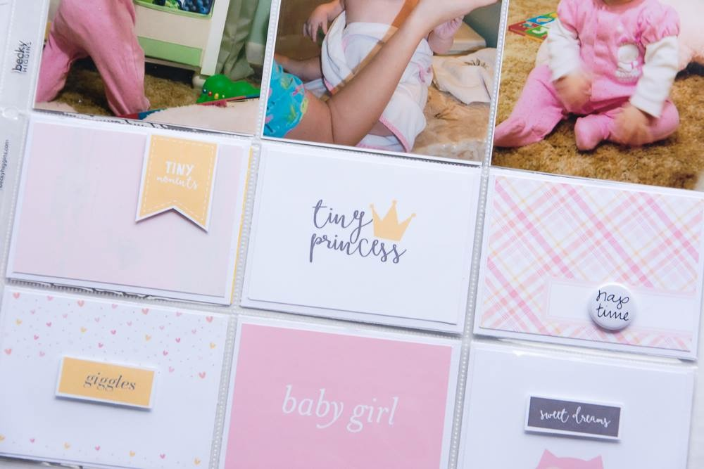 12x12 pocket page layout by Turquoise Avenue featuring Hush, a baby collection by Little Lamm & Co.