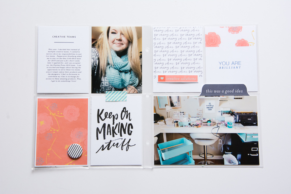 6x8 Pocket Page scrapbook layout created by Turquoise Avenue, featuring the Bright Ideas collection and journal cards by Paislee Press.