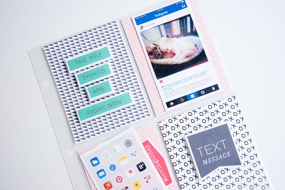 Documenting Text and Online Conversations | 6x8 Pocket Page Scrapbook Layout by Turquoise Avenue feat. For Like Ever by Paislee Press