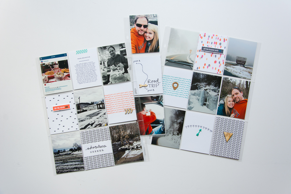 9x12 pocket page scrapbook layout by Turquoise Avenue featuring journal cards, word art and designs by Paislee Press.