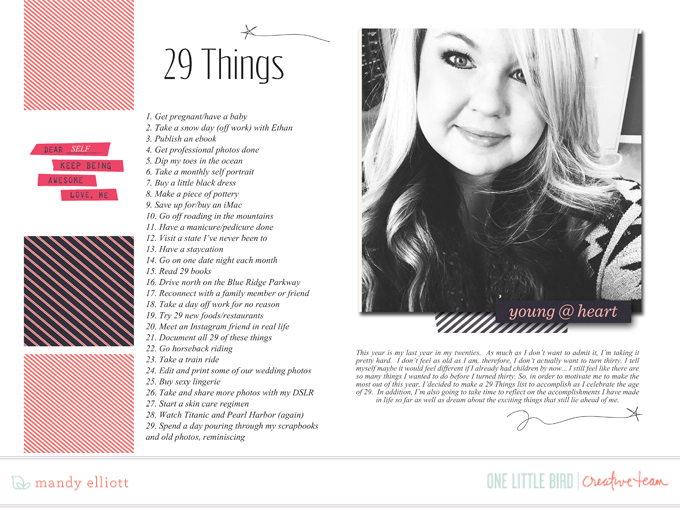 6x8 Digital Scrapbooking - List 29 Things to Do in your 29th year. Featuring the Forever Young collection by Peppermint Granberg, One Little Bird Designs.