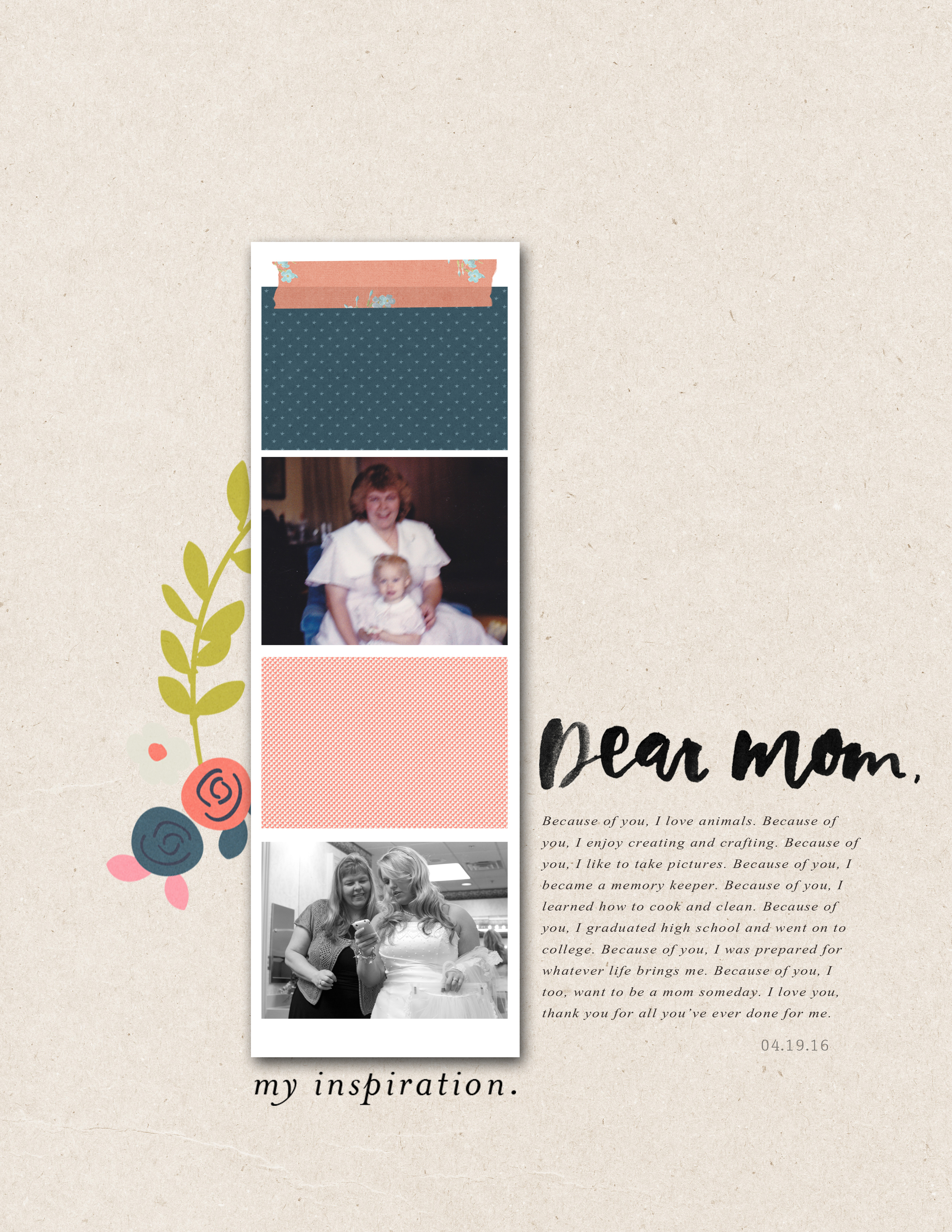 6x8 Digital Scrapbook Layout by Mandy of Turquoise Avenue, using Dear Mom from Paislee Press