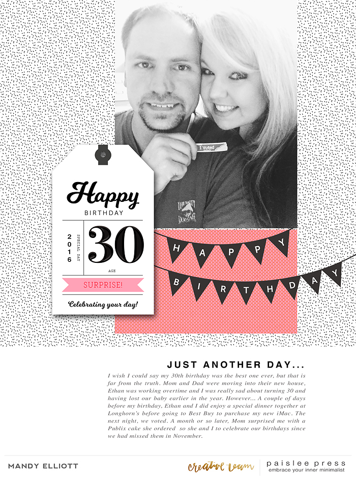 Digital Scrapbook Page by Mandy of Turquoise Avenue using the Oh Happy Day Collection from Paislee Press