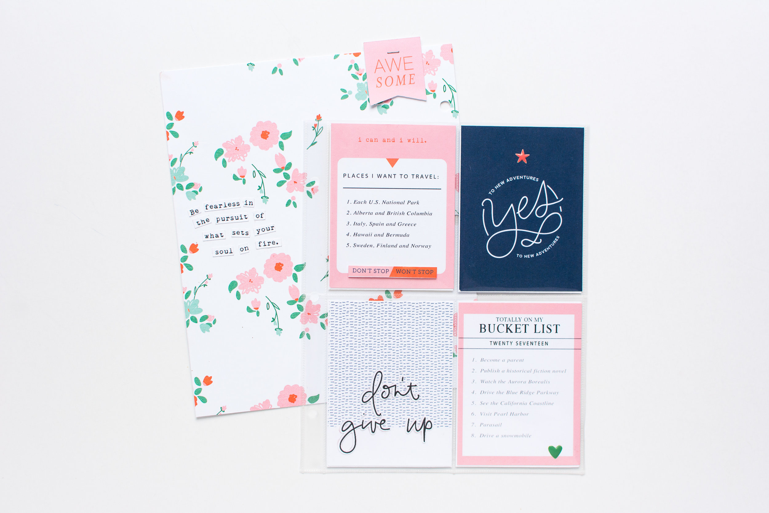 Document your bucket lists! Products shown include High Five  digital scrapbook kit  and  journal cards  by Paislee Press, plus a FREE Bucket List Journal Card you can download via my class,  YOUnique  ,  at Big Picture Classes, coming April 10th!