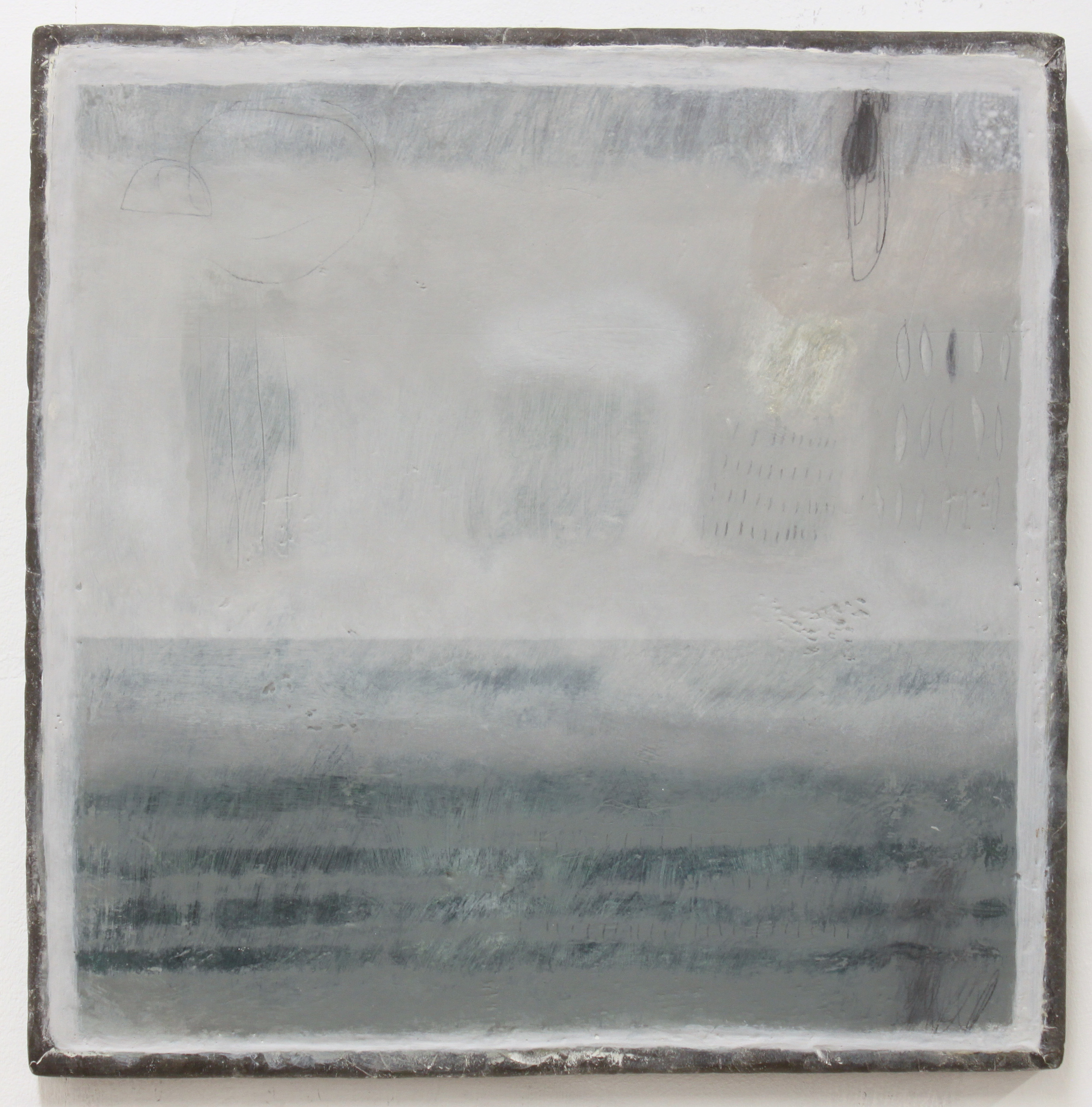 Jo Kehyaian Abstract with Strips 34 x 34 cm (lead frame) natural pigmant on wood  £650