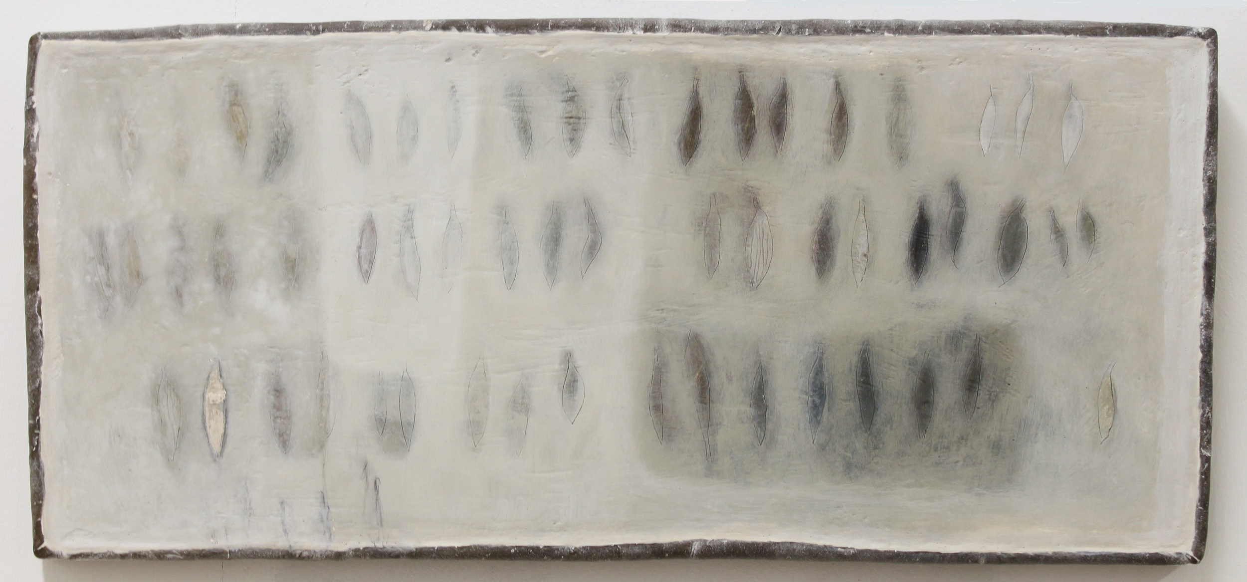 Jo Kehyaian Feather Shapes natural pigment on wood 46x21cm (lead frame) S O L D