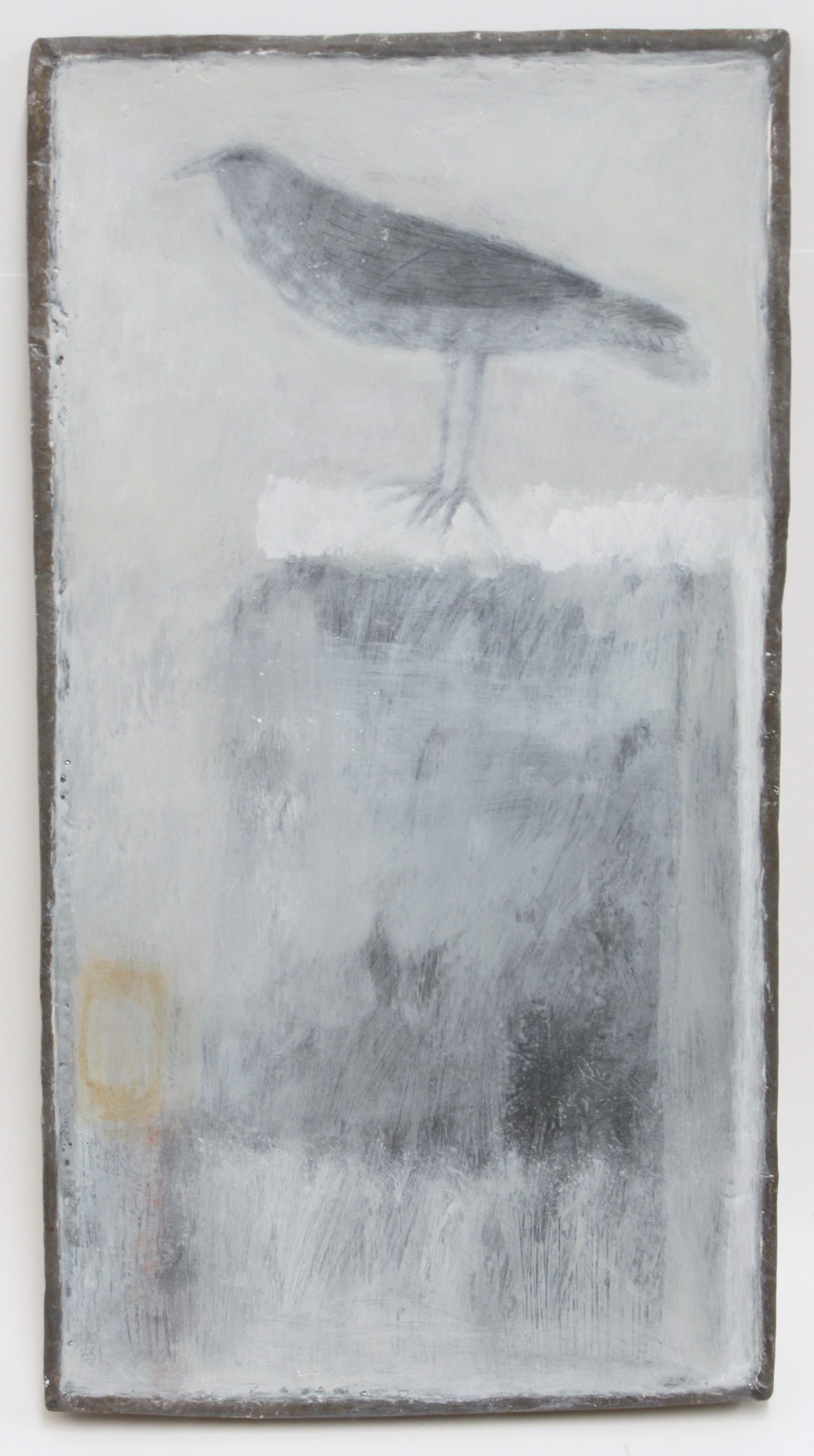 Jo Keyaian Bird on Post natural pigment on wood 24x45cm (lead frame)  £600