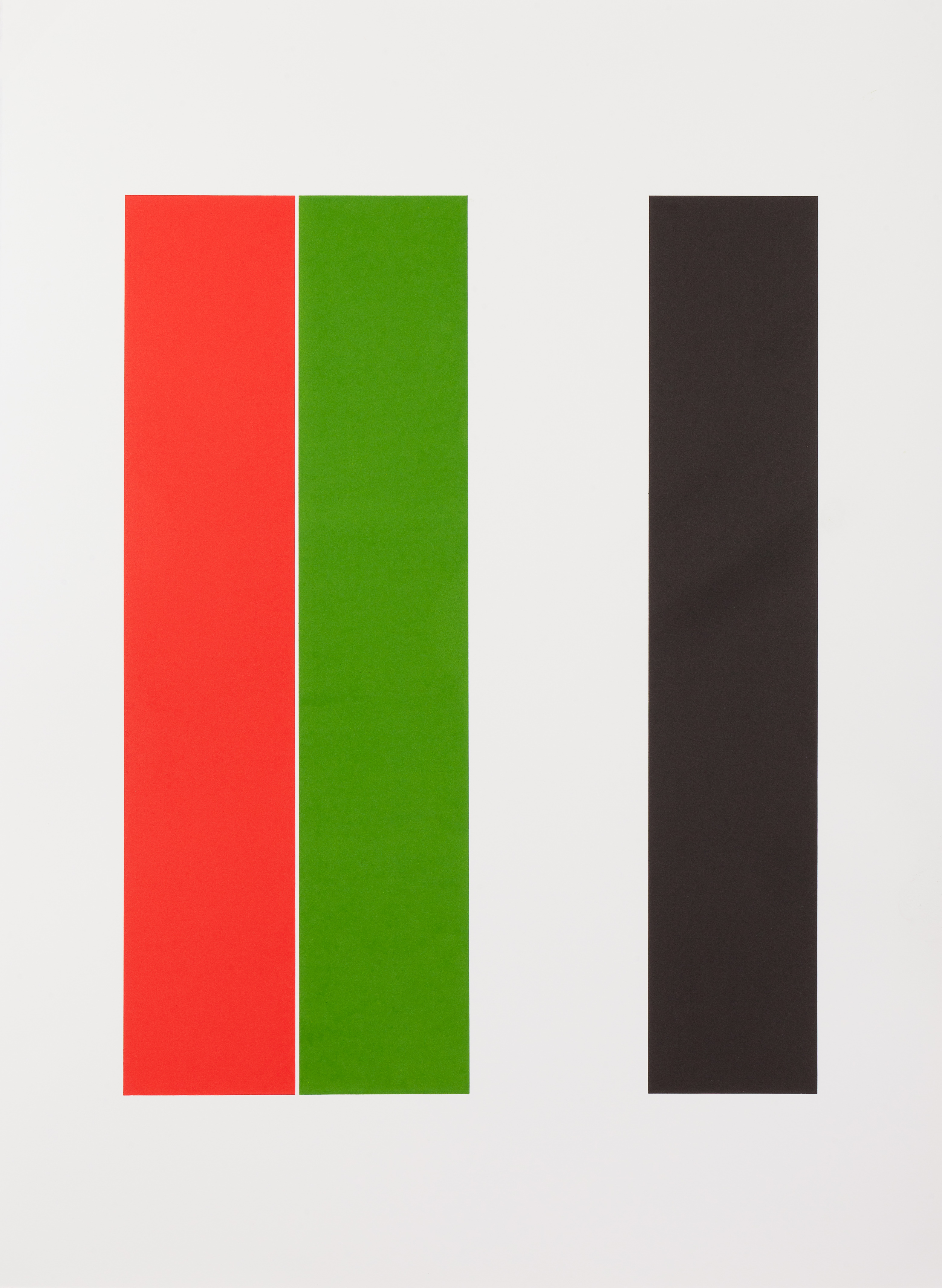 Henry Garfit   Red, Lime Green and Black Stripes   Relief print with reclaimed aluminium   76 cm x 57 cm   Edition of 10