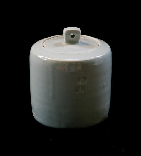 P e t e r S w a n s o n  Lidded Caddy  100 mm x 82 mm  Porcelain with Trans Celadon  S O L D