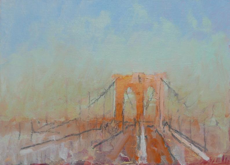 Tom Rickman Brooklyn Gate NYC 15 x 20 cm oil on gesso £575