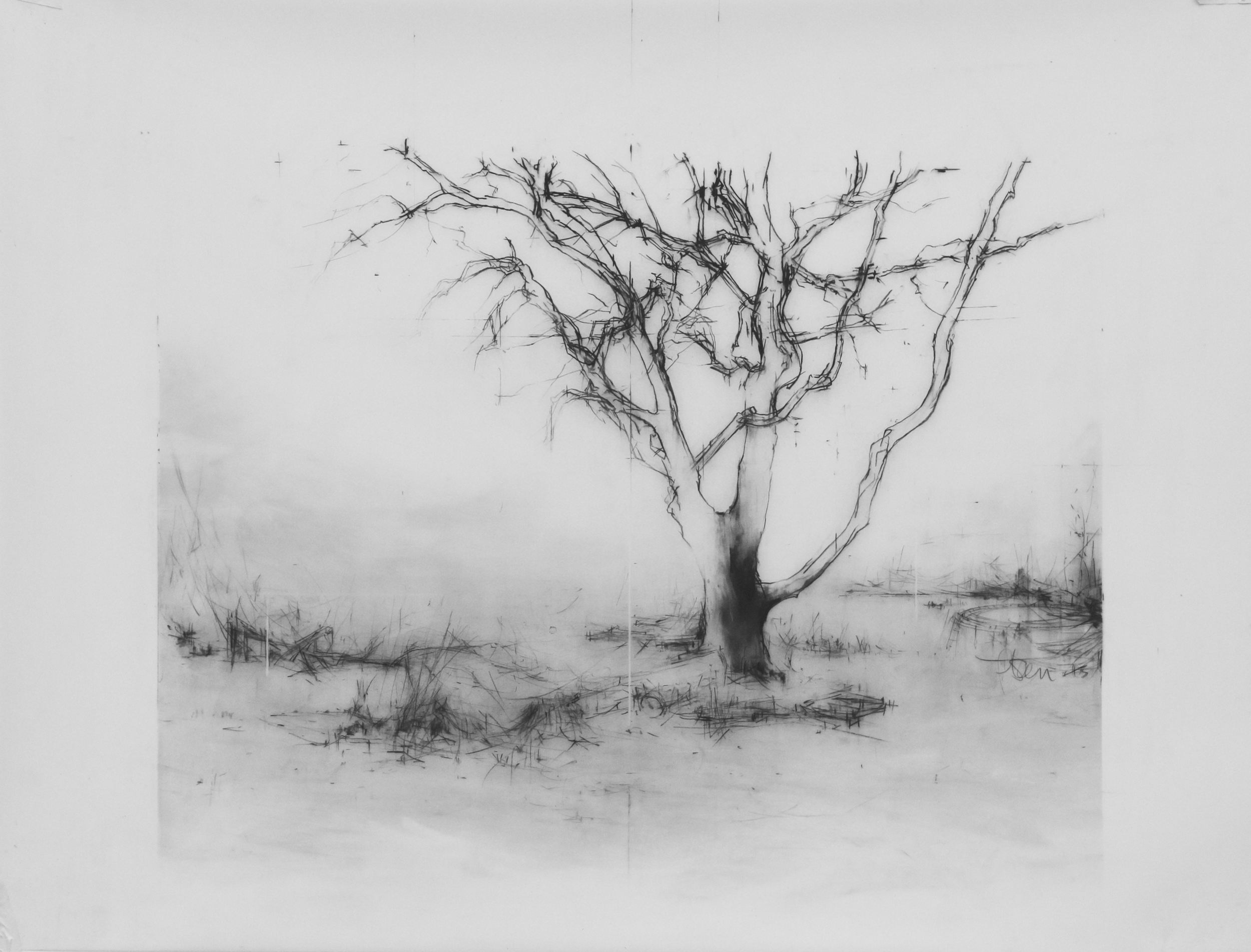 Laurie Steen RWA  As I remember it - drawing 15-14  46 x 59 cm   conte on mylar   £1300
