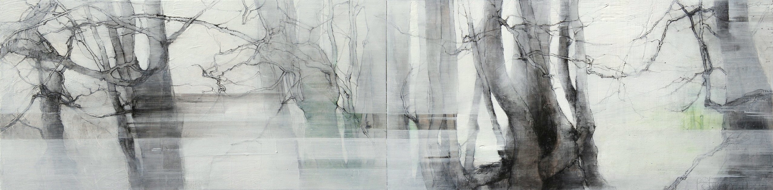 Laurie Steen  RWA Liminal View 09.03.2009 Drawing 04 - 11 20 x 80 cm graphite & oil on gesso panel   S O L D