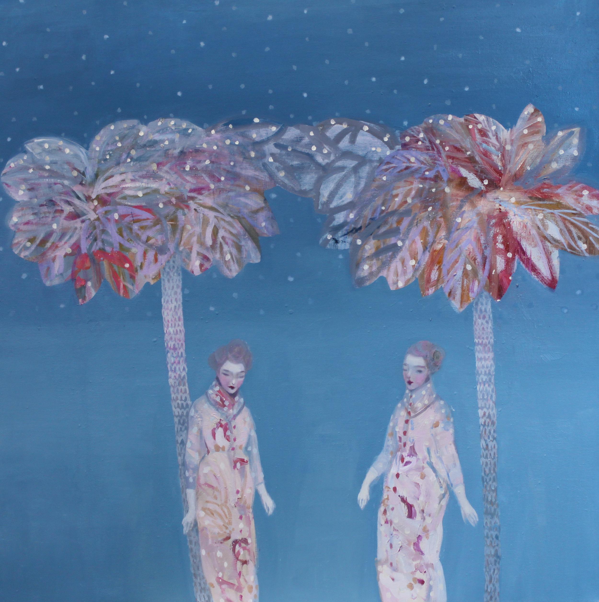 K r i s t i n V e s t g a r d  Silent Encounter 80 x 80 cm  oil on canvas £ 3500
