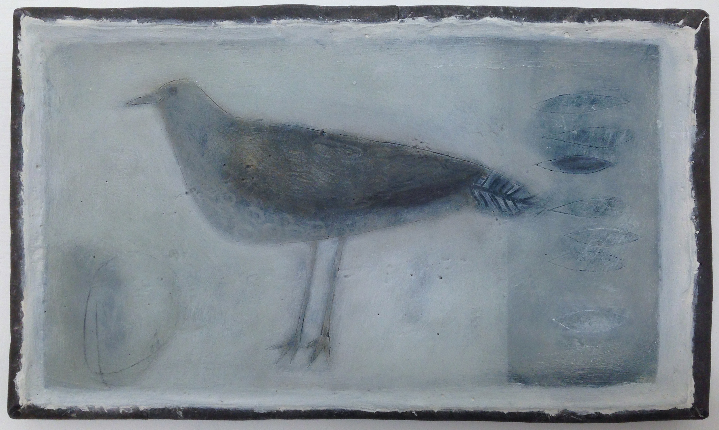 Jo Kehyaian Bird with feather shapes natural pigment & gesso on wood with lead frame  S O L D