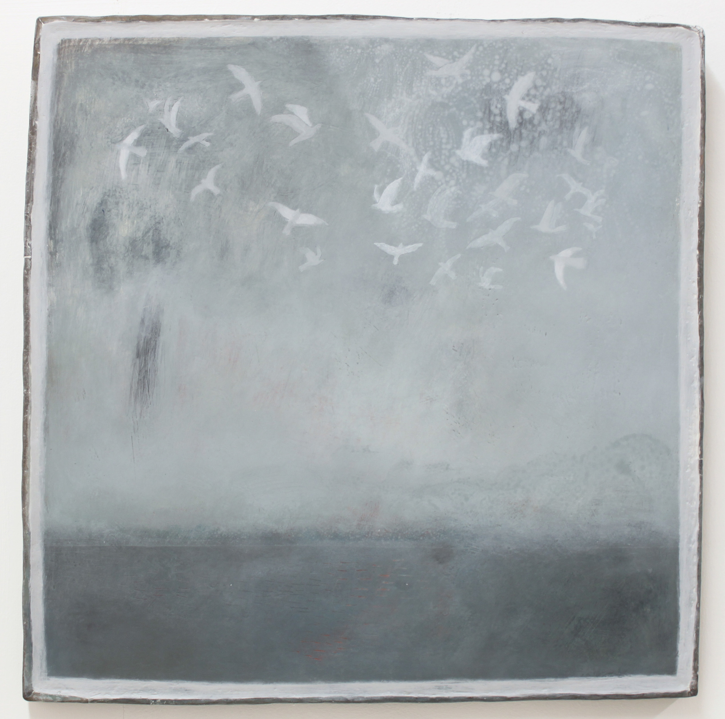 J0 Kehyaian Seagulls 43 x 43 cm natural pigment & gesso on wood with lead frame  S O L D