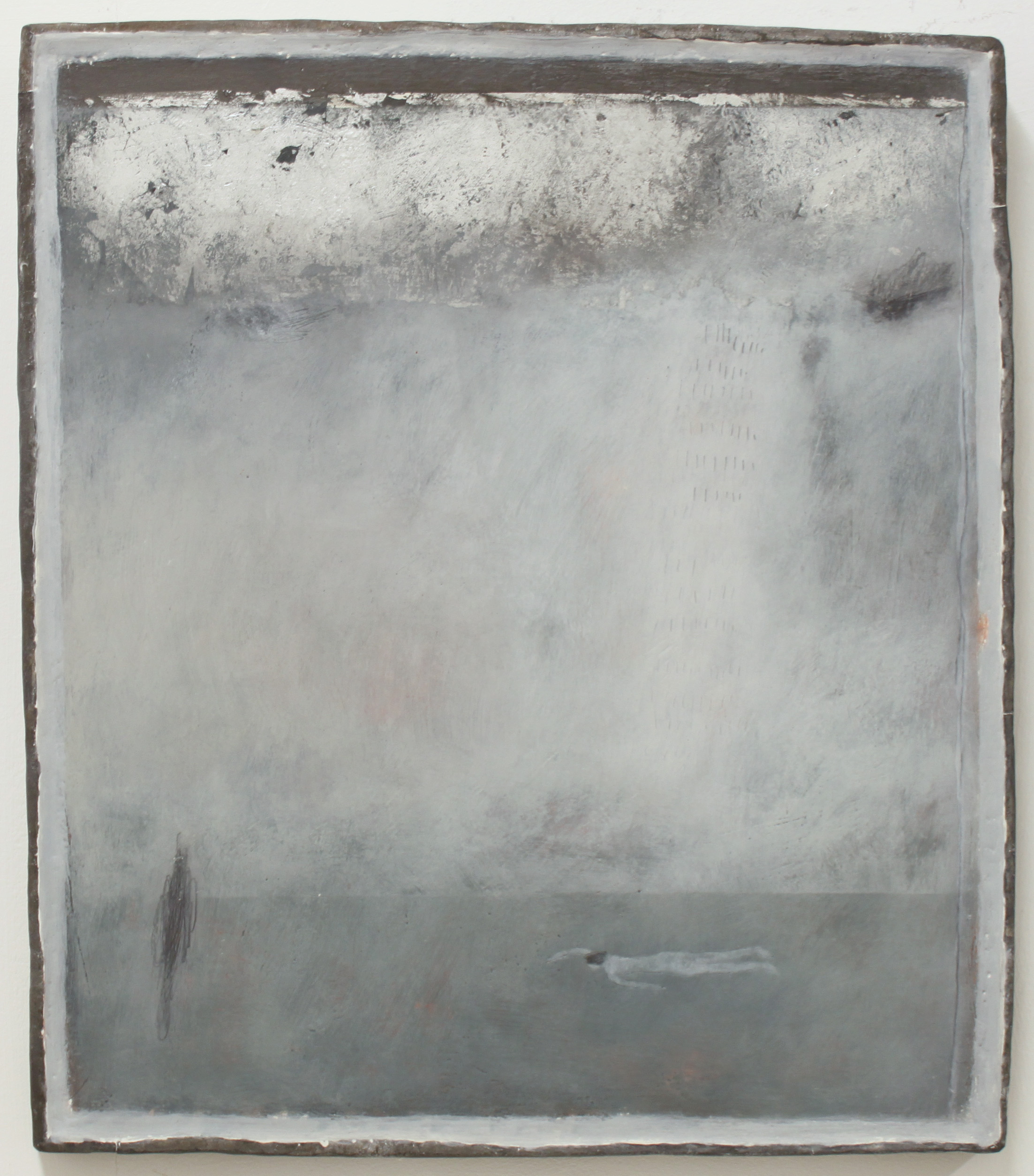 Jo Kehyaian Swimmer-Silver Cloud natural pigment & gesso on wood with lead frame 38 x 43 cm  S O L D
