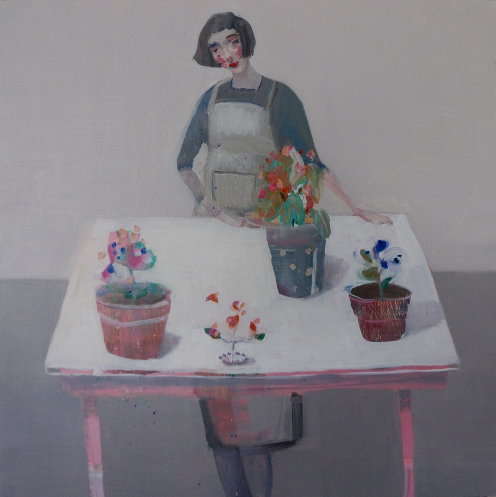 Kristin Vestgard Bring it to the table oil on board (framed) 40 x 40 cm £ 2150