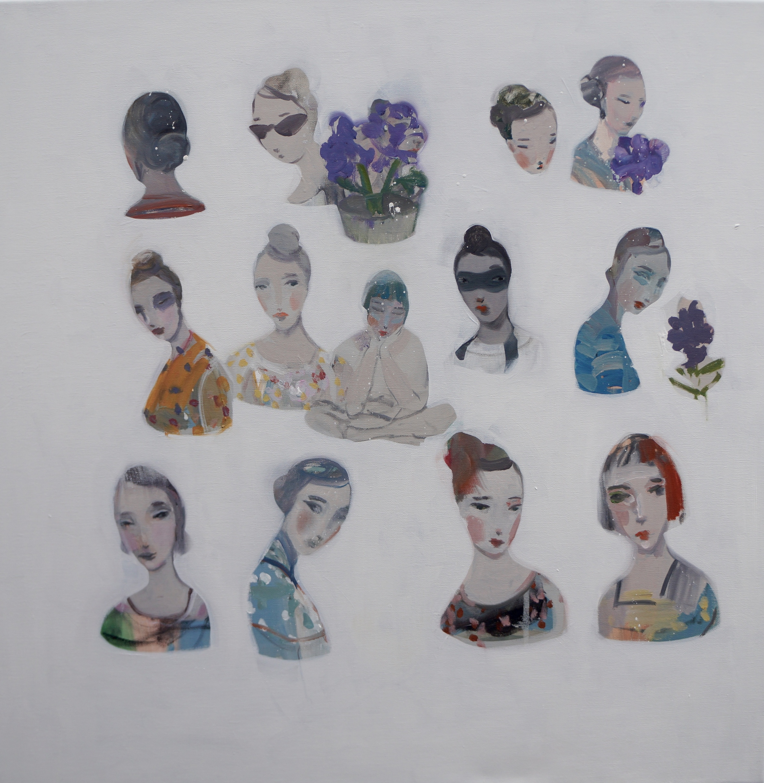 Kristin Vestgard Many faces many traces I oil on canvas 70 x 70 cm £ 3000