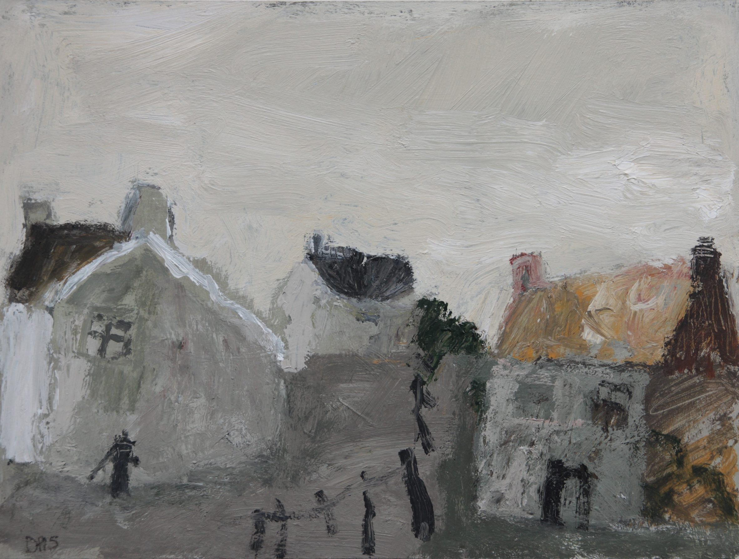 David Pearce Village Pump mixed medium on panel 30 x 40 cm S O L D