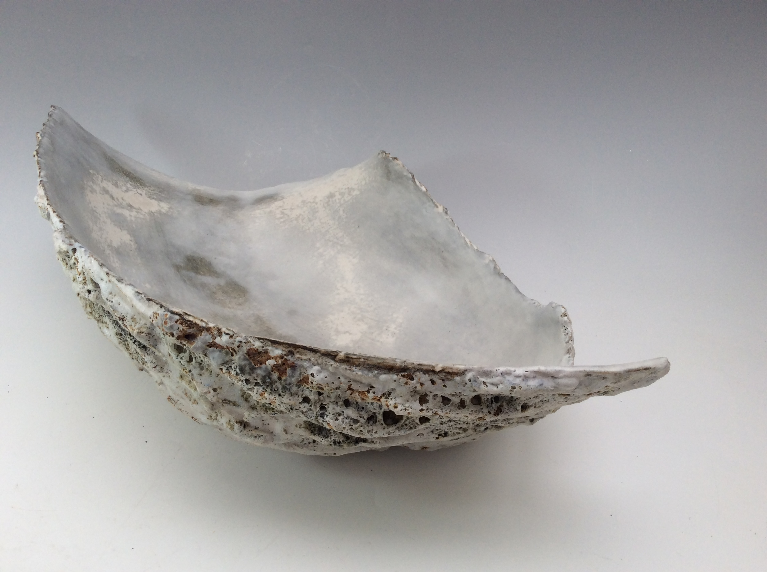 Adela Powell Long Vessel Stoneware -fired to 1270degrees various slips, oxides and glazes. S O L D