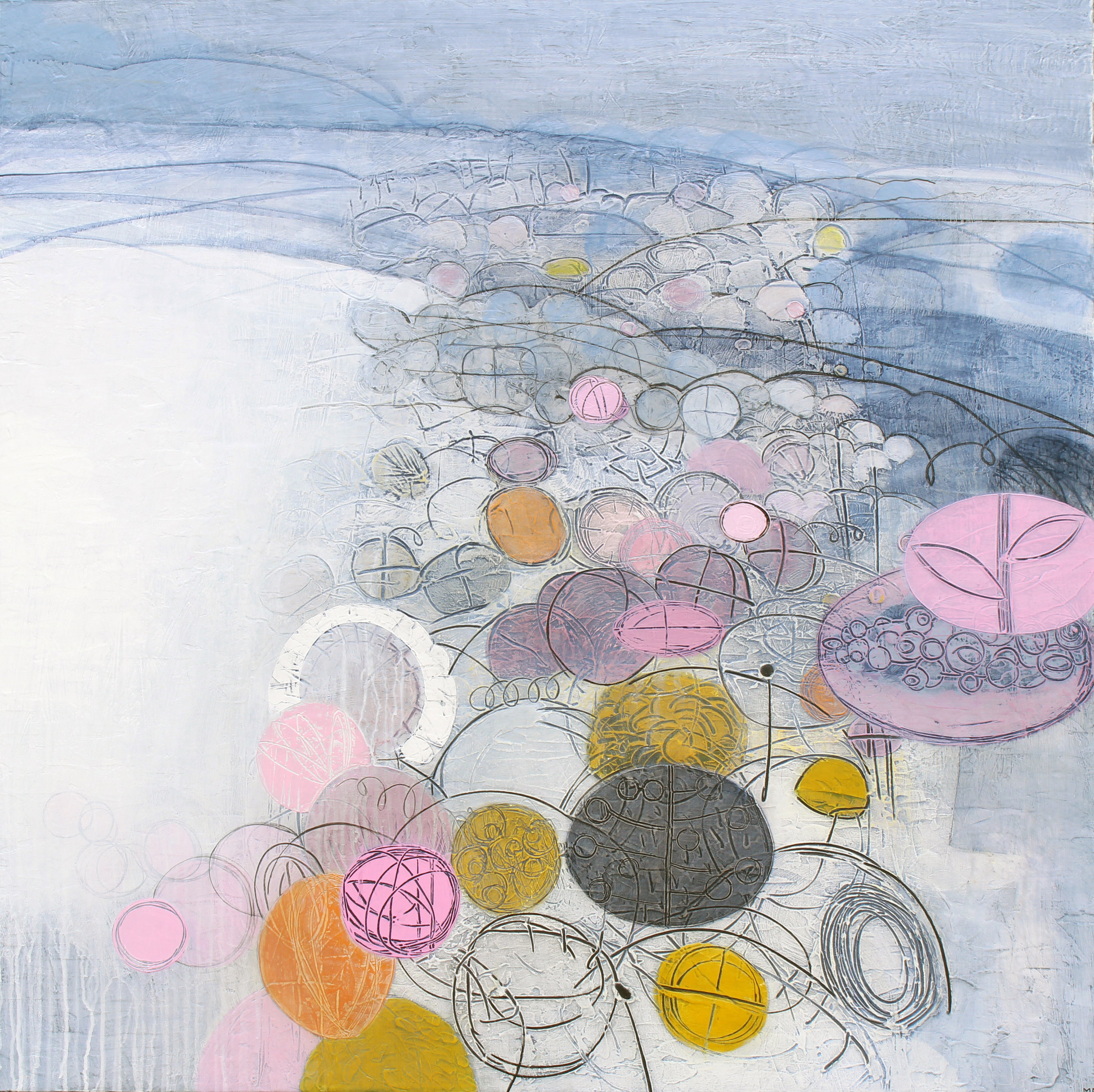 Maggie Matthews Colour and Light 100 x 100 cm mixed media on canvas £2950