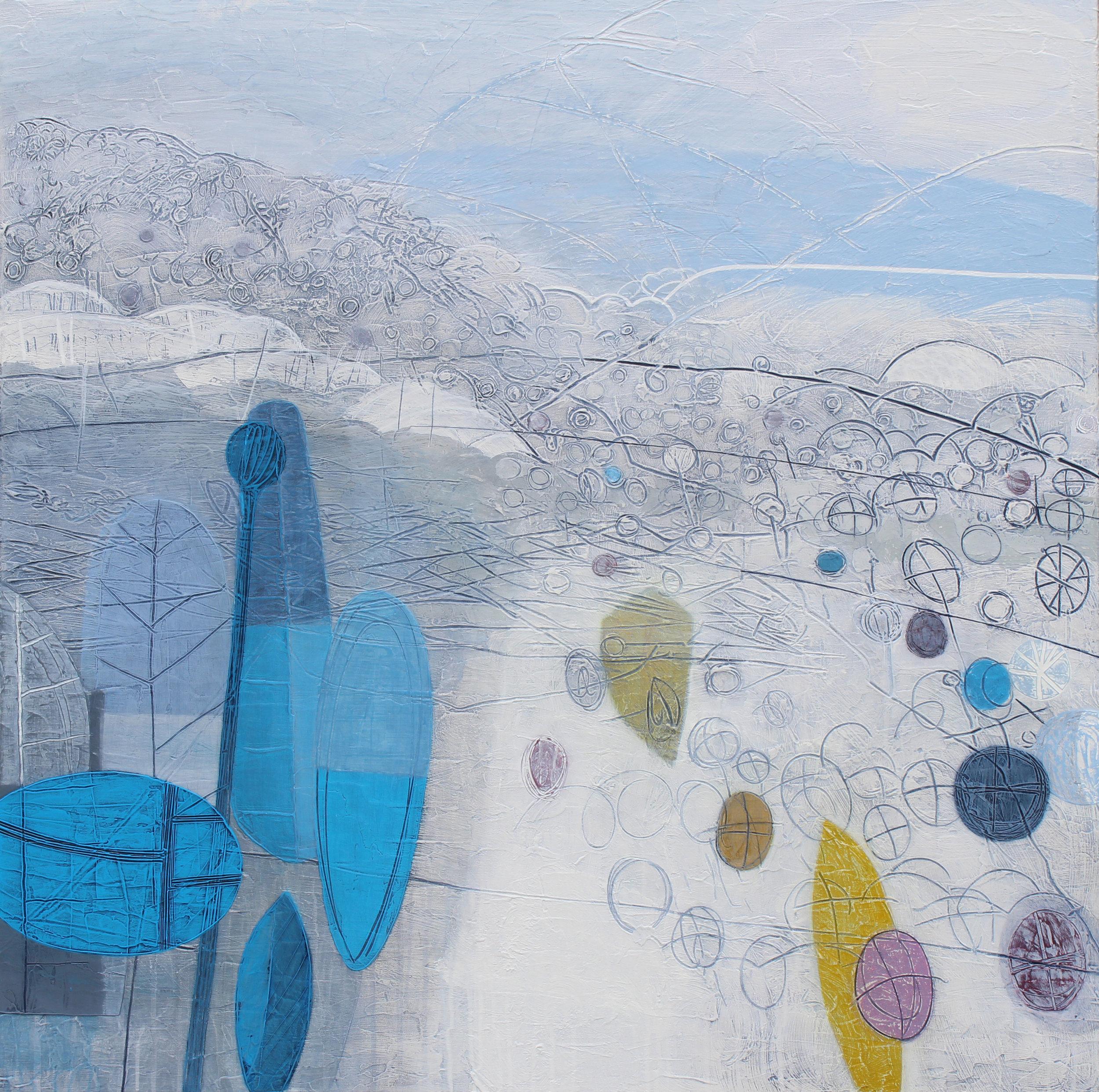 Maggie Matthews The Wild Garden 100 x 100 cm mixed media on canvas £2950