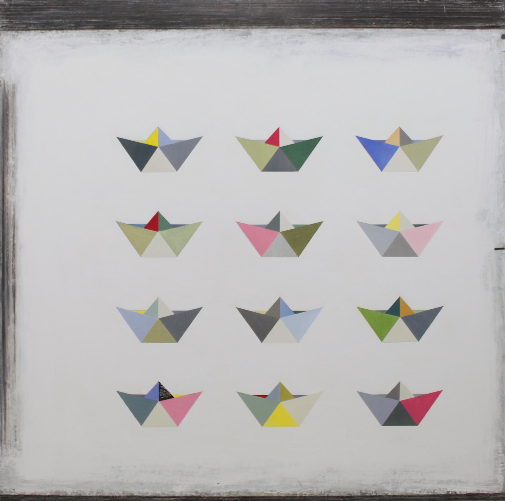 Paul Fry 12 Origami Boats 100 x 100 cm oil, gouache & graphite on canvas £3000