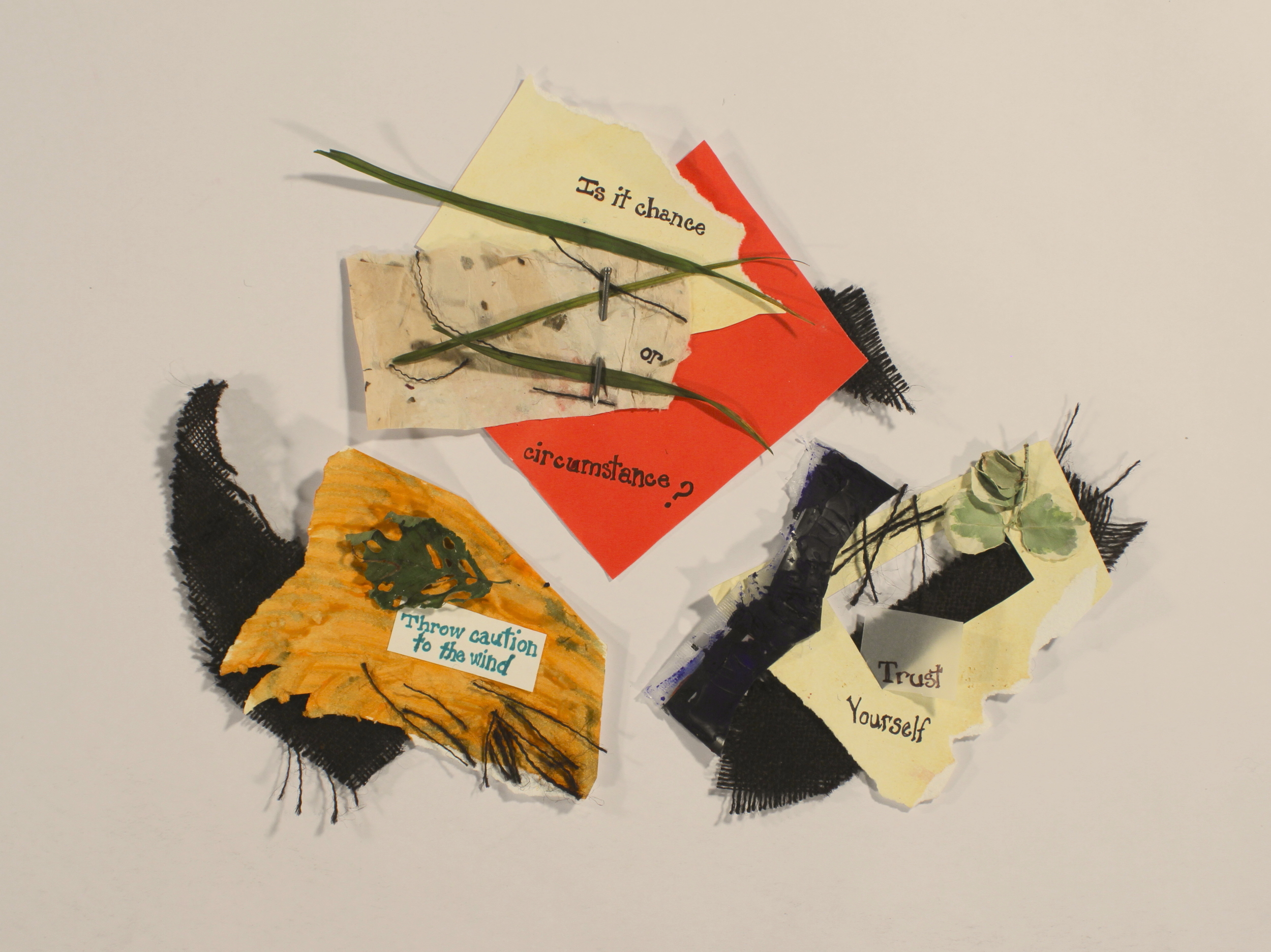 So They Say  2014, Burlap, acrylic, paper, leaves, vellum, nail, marker, plastic,11in x 13in