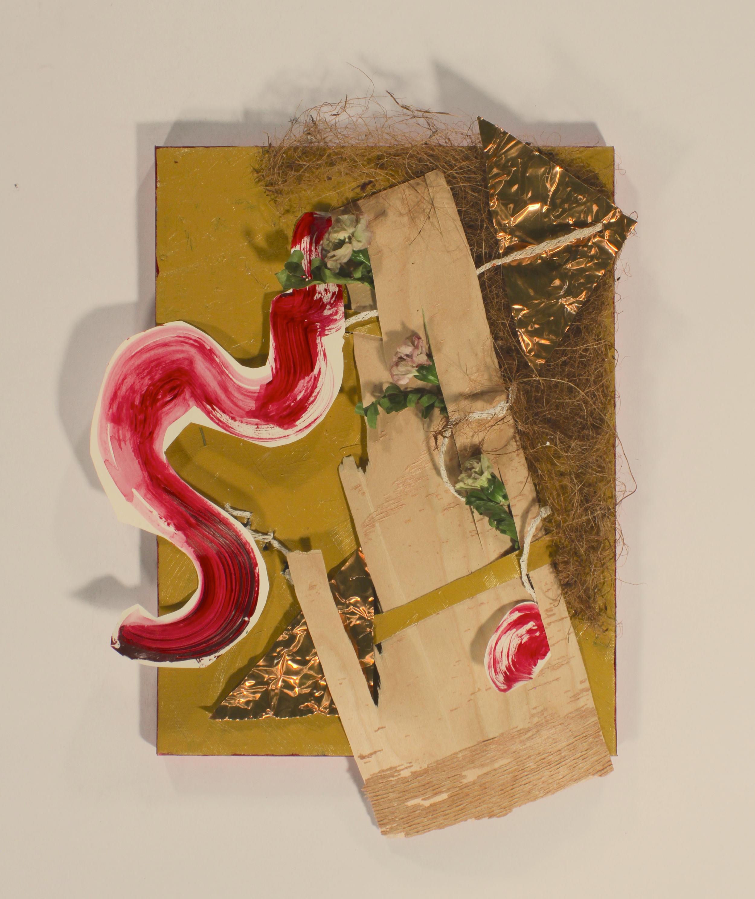 When Love Takes Break- Semi Pleasant  2014, stretched canvas, paper, acrylic, wood, flowers, copper, twine, plastic nest, 8in x 10in