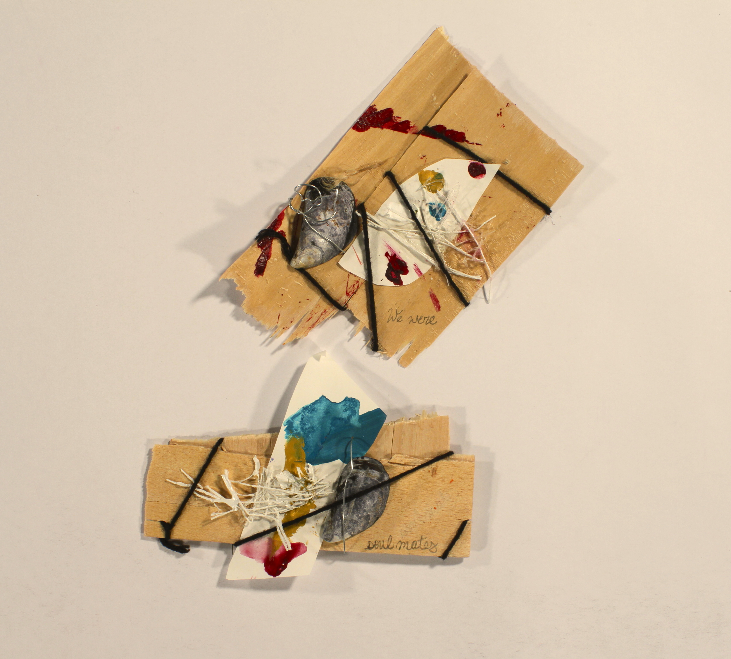 Missunderstandings - Soulmates  2014, wood, yarn, paper, hot glue, mussels, wire, acrylic, 11in x 7in