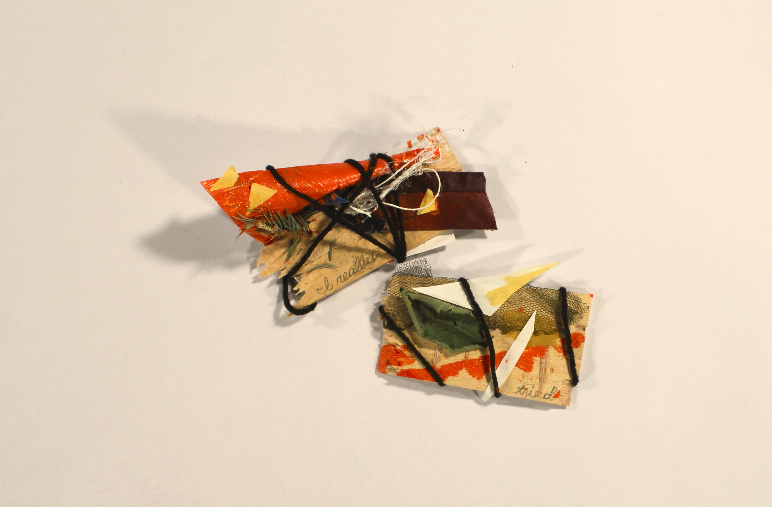 Missunderstandings- Really  2014, wood, leather, paper, acrylic, yarn, leaves, hot glue, 6in x 9in