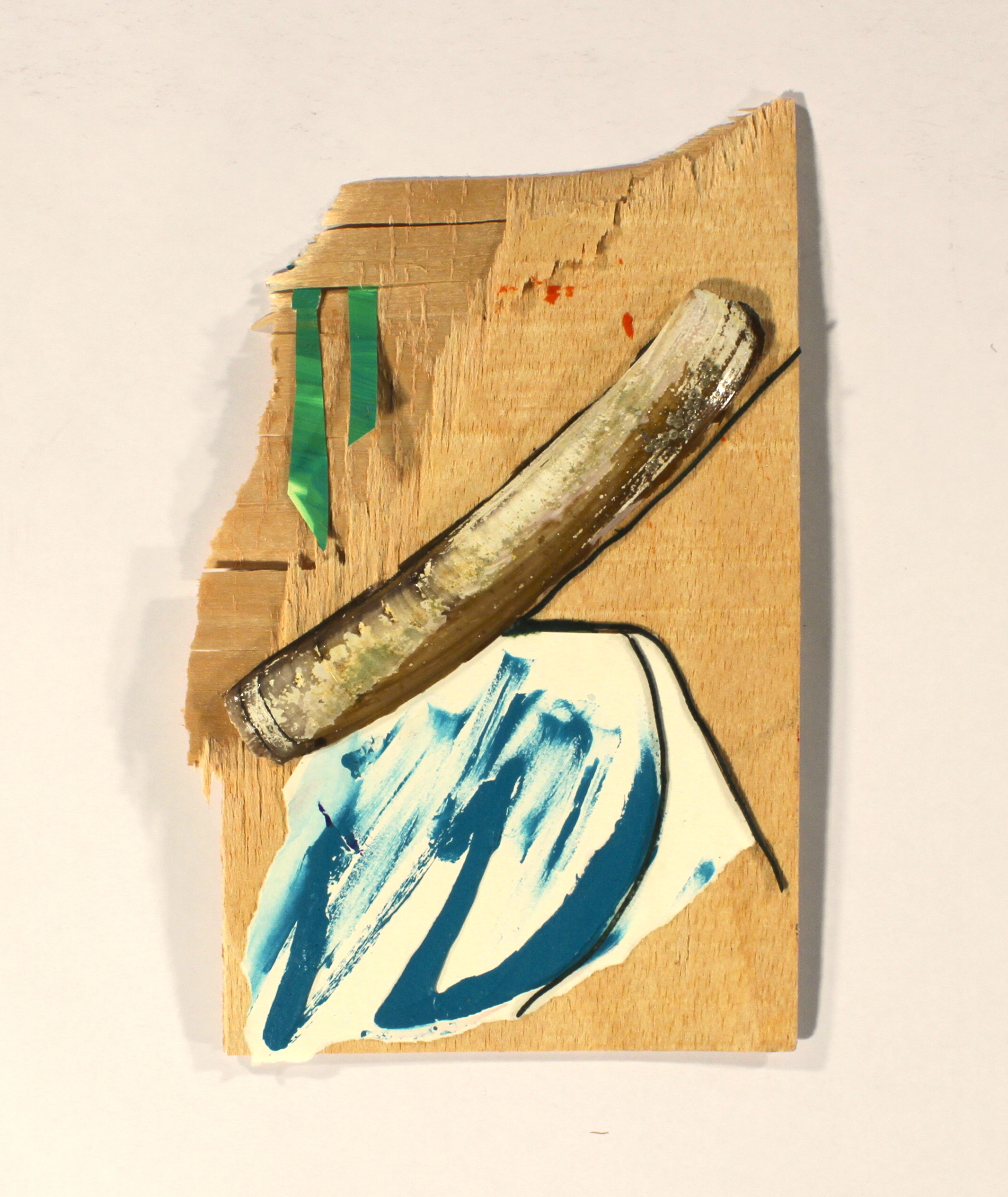 Started By Juan  2014, wood, paper, shell, acrylic, twine, 10in x 7in