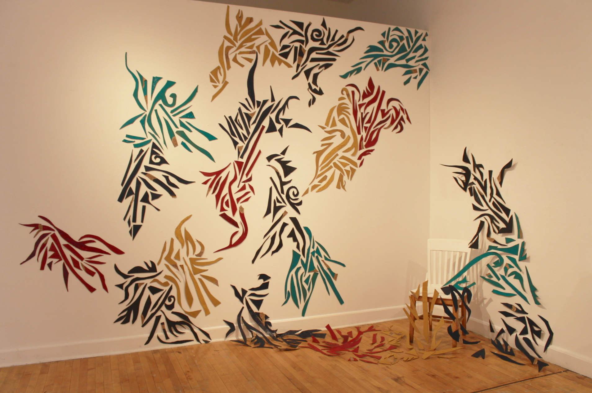 Summertime Sublime  2014 , acrylic, cardboard, wooden chair,10ft x 15ft