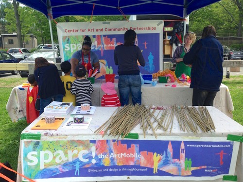 Here's a view of sparc! the ArtMobile's magic wand making table at the Kite n Bike Fest.