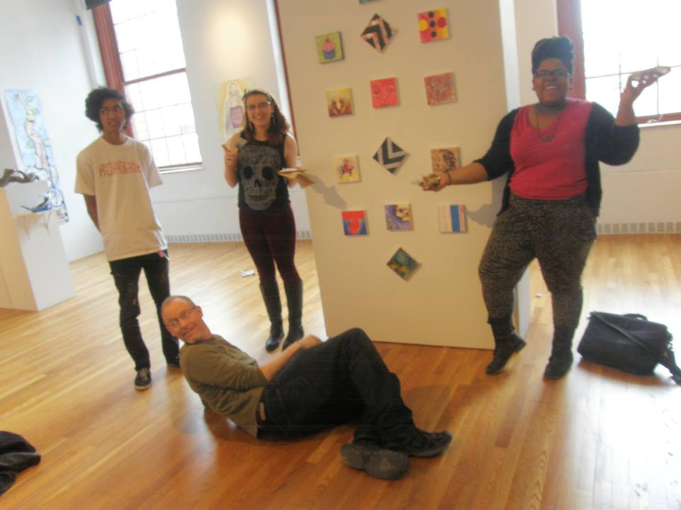 Here's the full range of emotions felt after curating and installing an art exhibition via my two freshman mentees and colleague Christopher Sullivan.