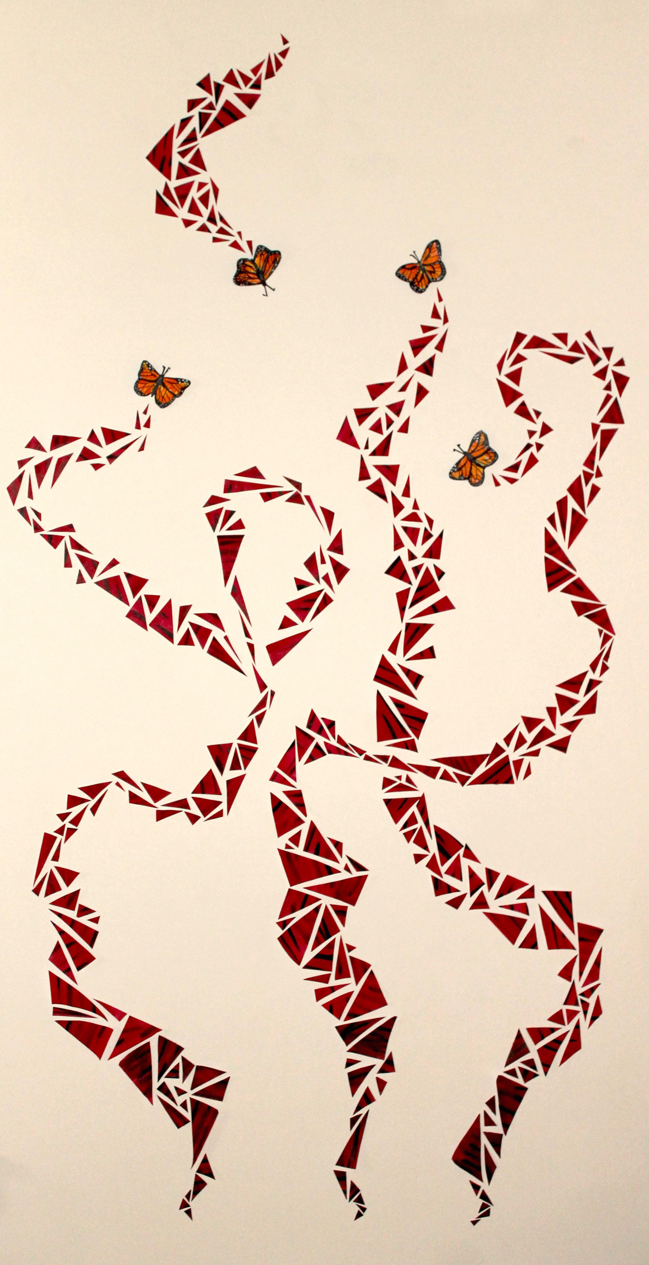 Flight, 2015, paper, acrylic, marker, 6.5ft x 4ft
