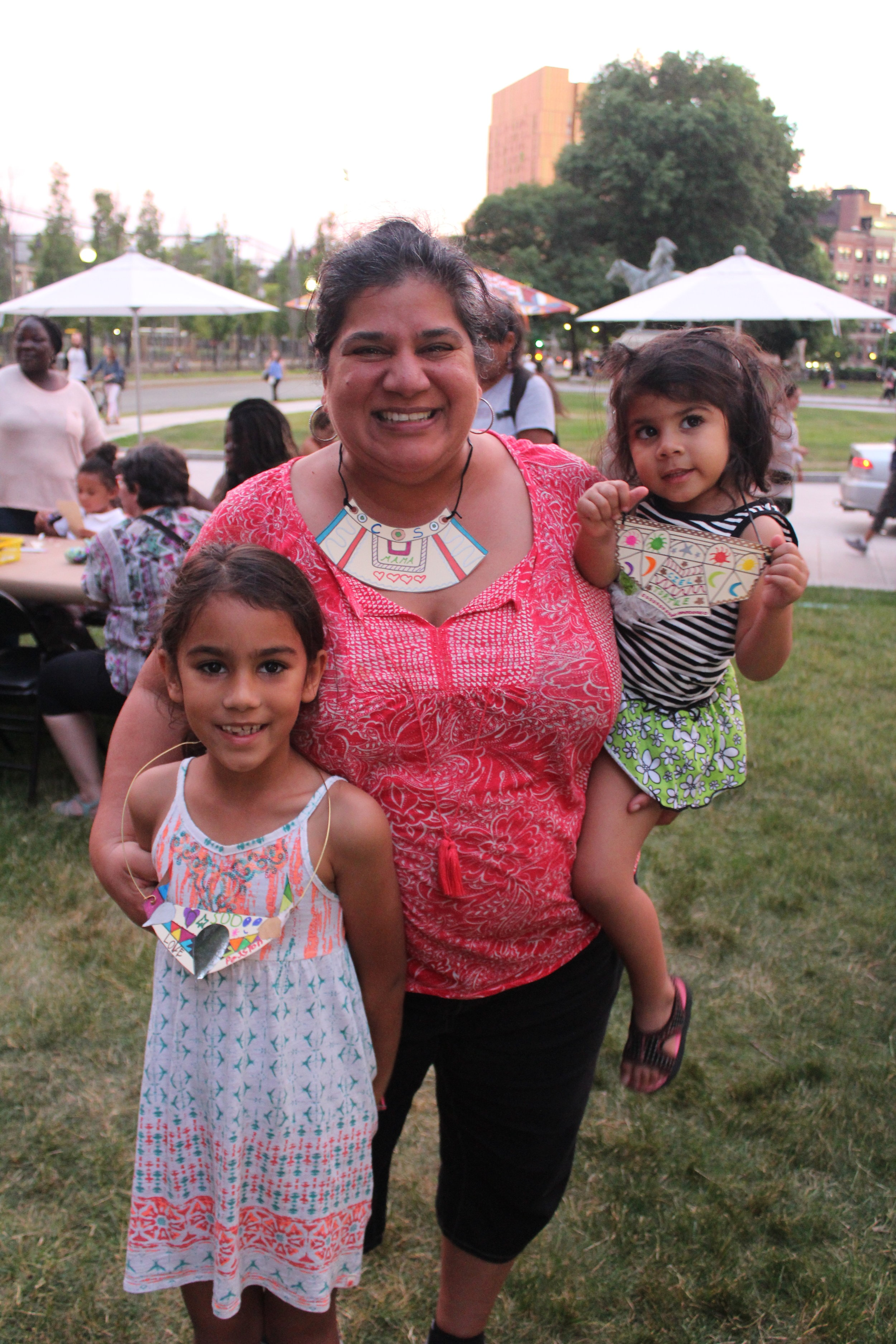 Caught a lovely family wearing their creations made during a public program I developed for the Museum of Fine Arts.