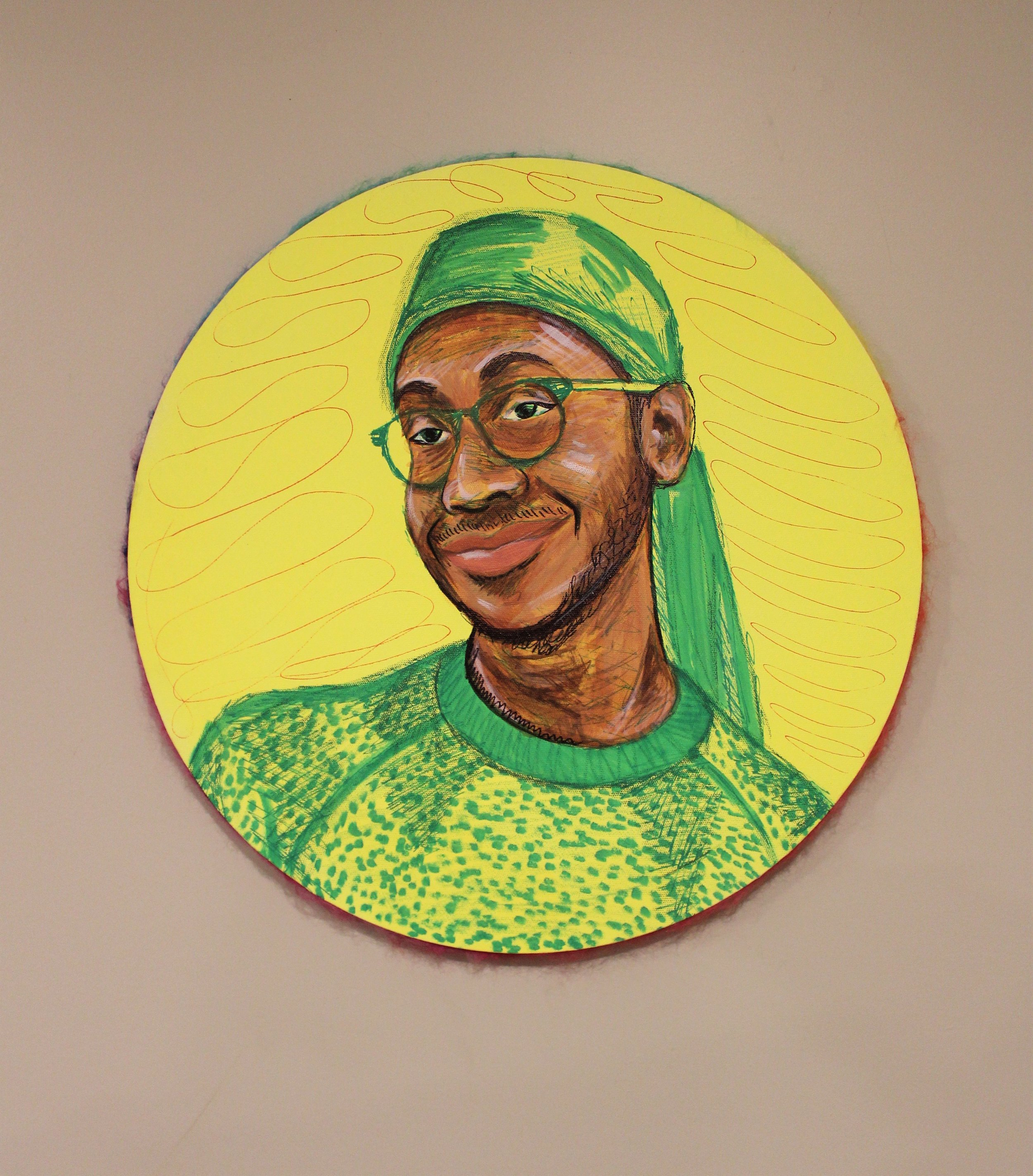 BEAMING: Aaron, 2019, acrylic, crayon and yarn on canvas, 24in round