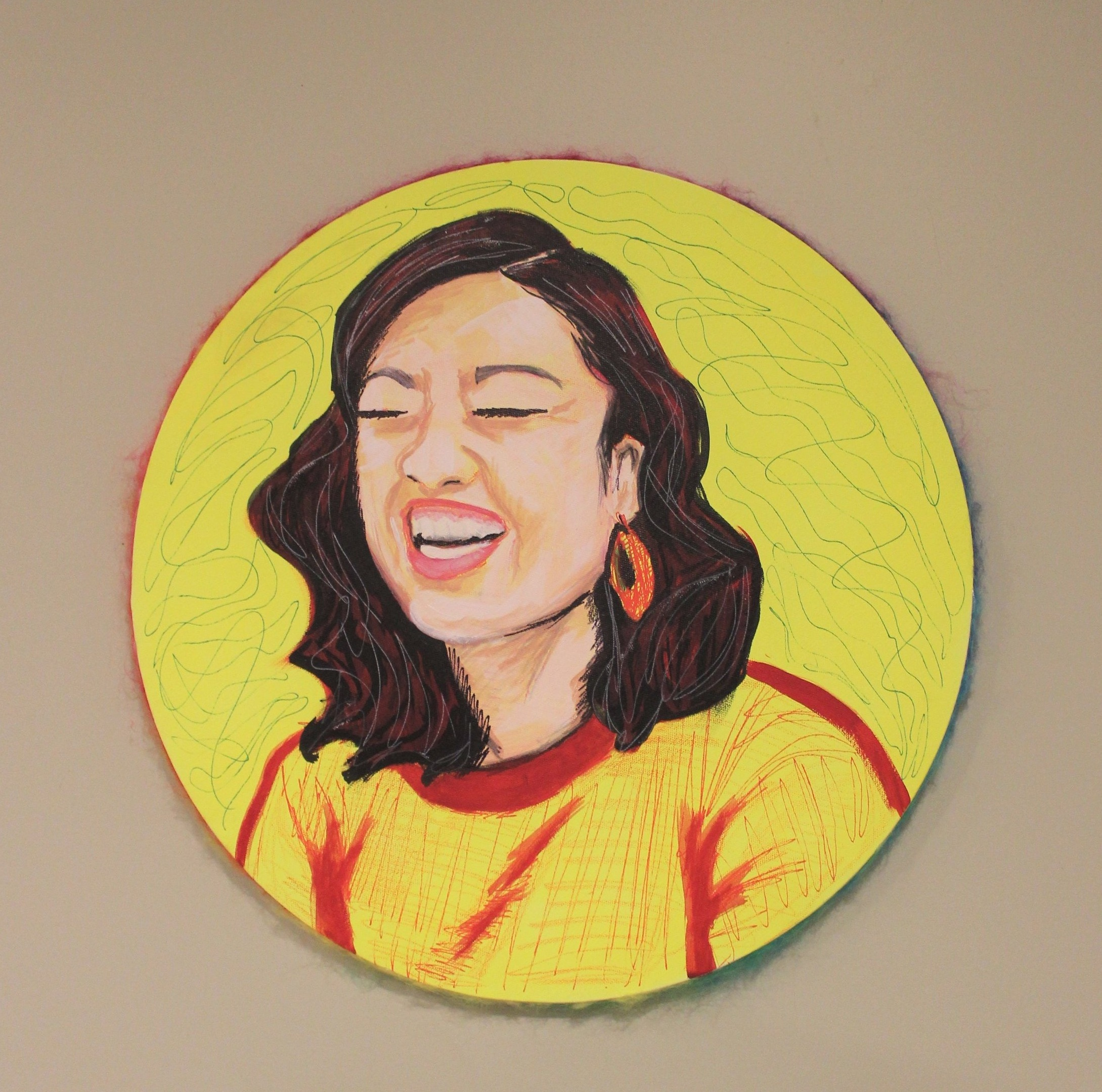 BEAMING: Ellie, 2019, acrylic, crayon and yarn on canvas, 24in round