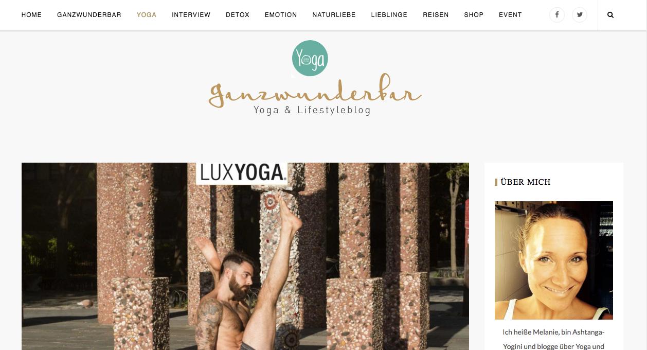 Interview with Ganzwunderbar Yoga & Lifestyle Blog: -