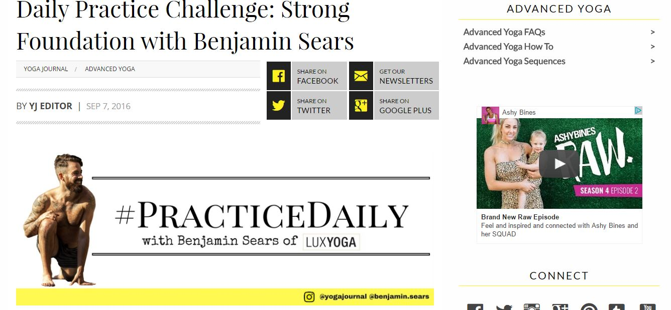 INTERVIEW AND DAILY PRACTICE CHALLENGE WITH YOGA JOURNAL: -