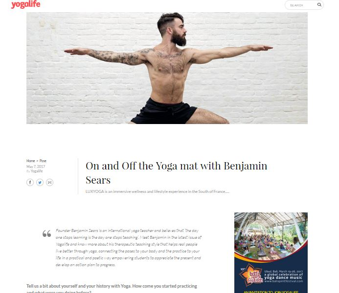 FEATURE IN YOGA LIFE MAGAZINE -