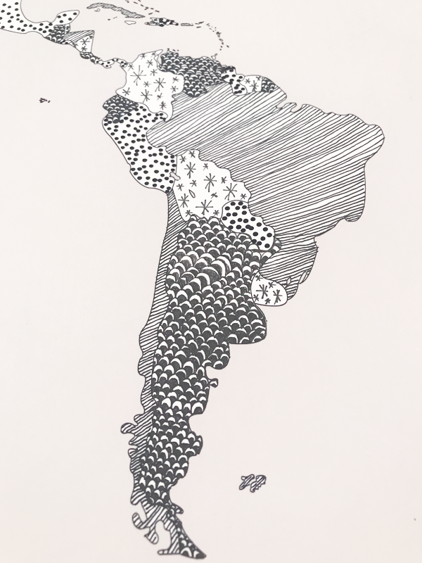 South America detail of the patterned World map - option D. (no extra outline)