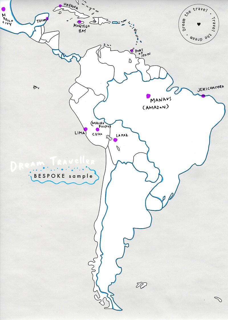 e.g. Neon Blue outlines + Neon Purple city dots + All Caps place name.
