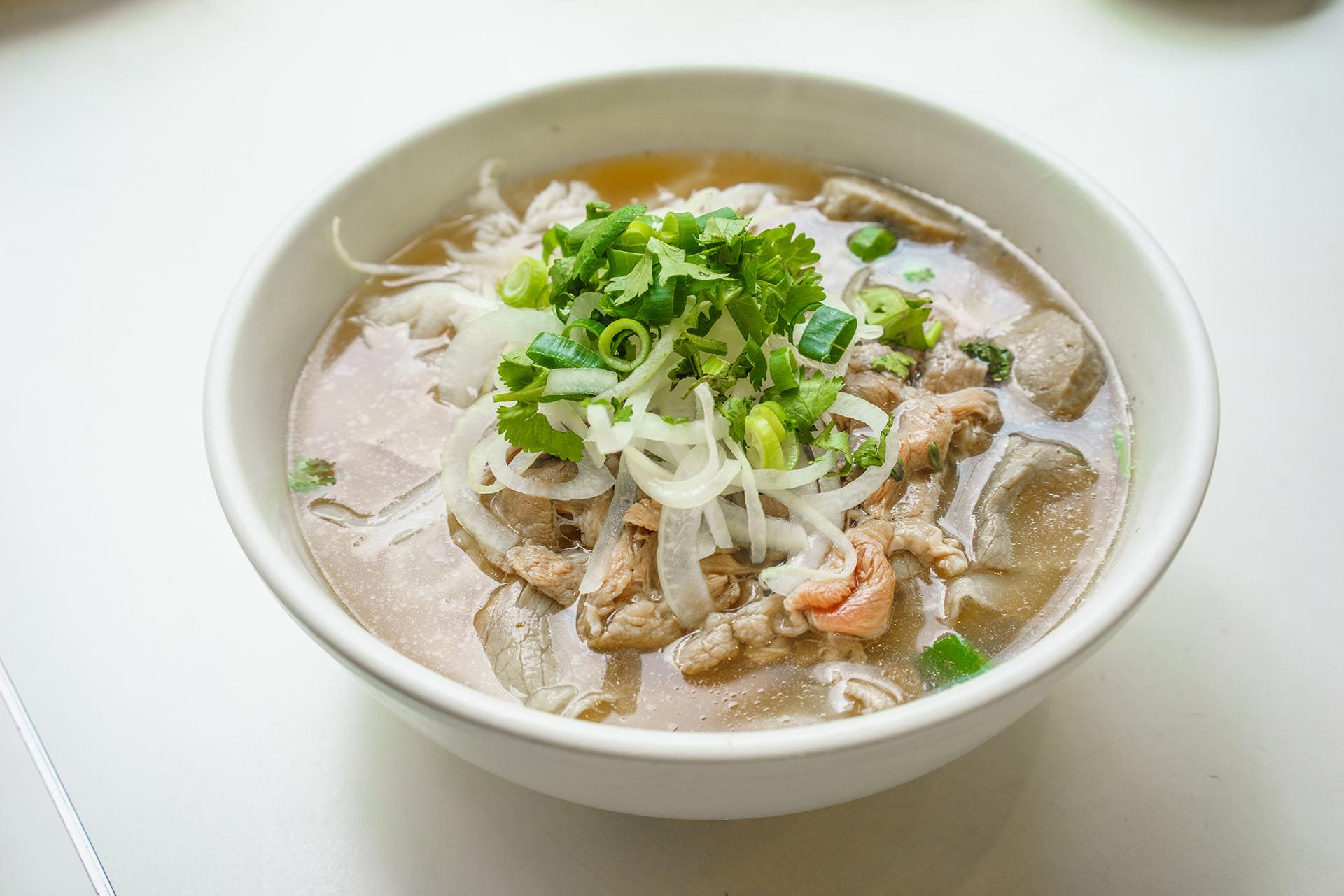 Beef rice noodle soup ~ pho bo