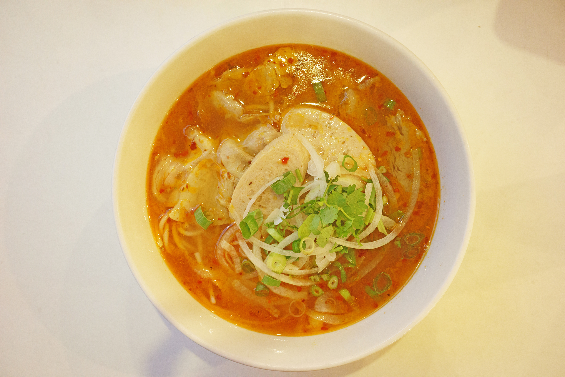 Spicy beef and pork noodle soup with thicker vermicelli ~ bun bo hue