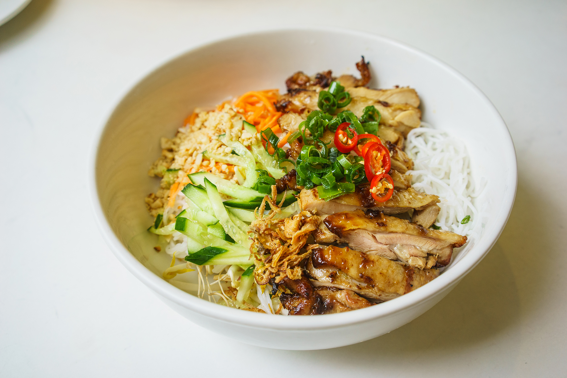 Grilled chicken with vermicelli ~ bun ga nuong