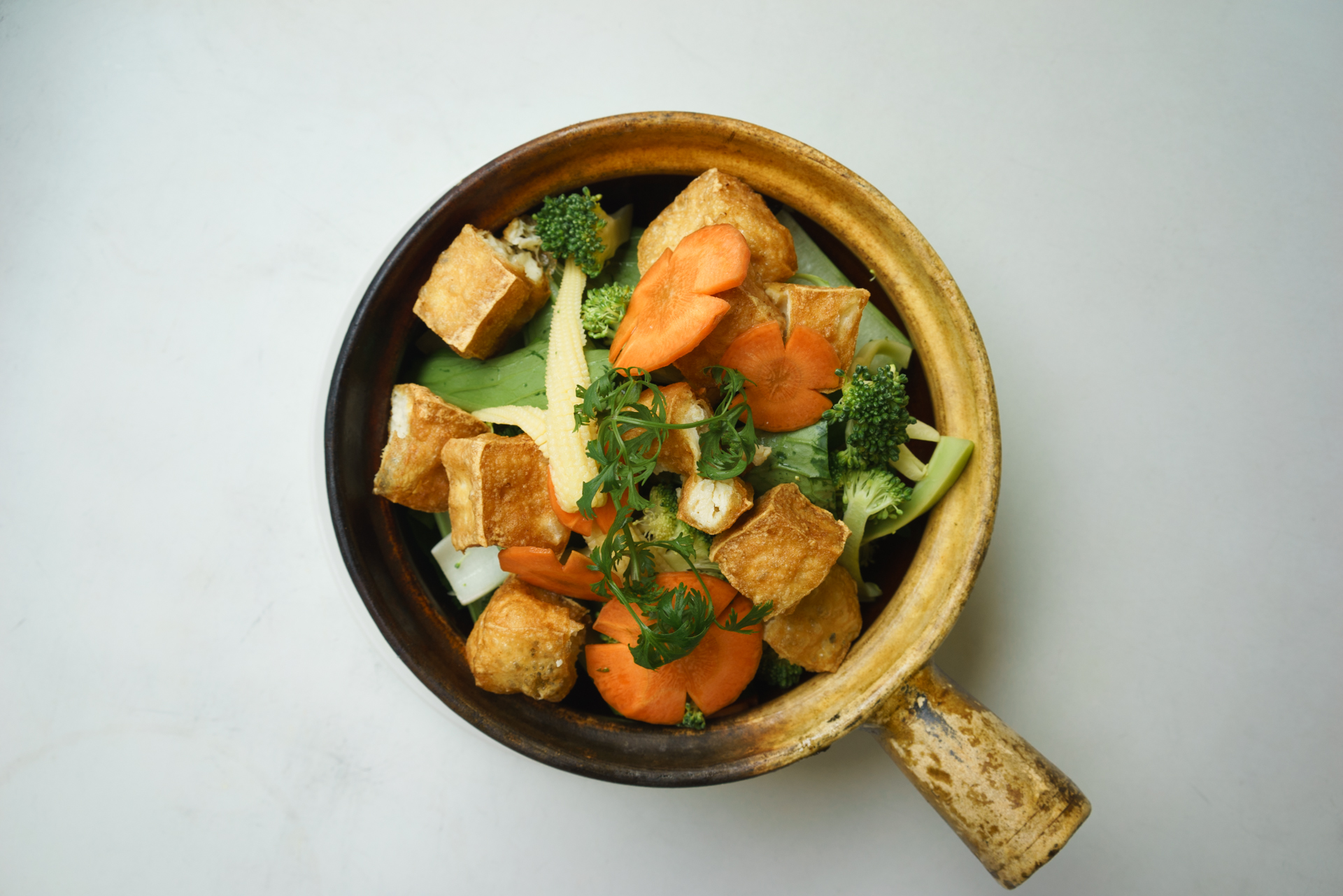 combination bean curd served in hot clay pot ~ dau hu tay cam
