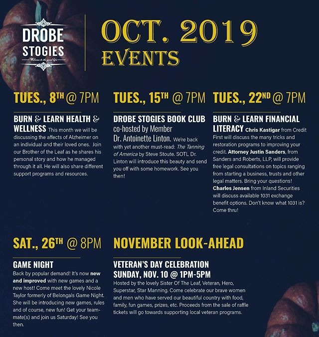 October is here! Join us for one or all of the fabulously fun and entertaining events. See you next week. #burnandlearn